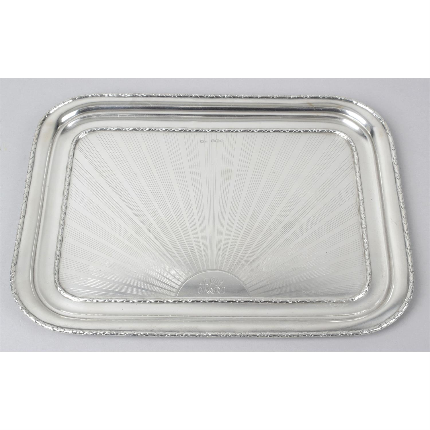 A George V silver dressing table tray.