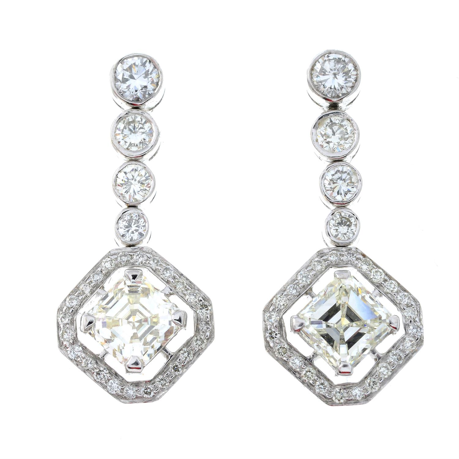 A pair of 18ct gold square-shape and brilliant-cut diamond earrings. - Image 2 of 4