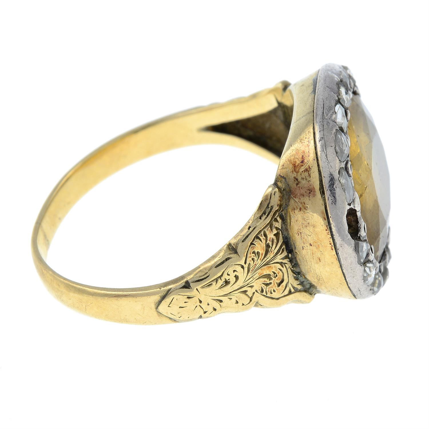 A late Georgian silver and gold, foil back golden topaz and rose-cut diamond ring. - Image 4 of 6