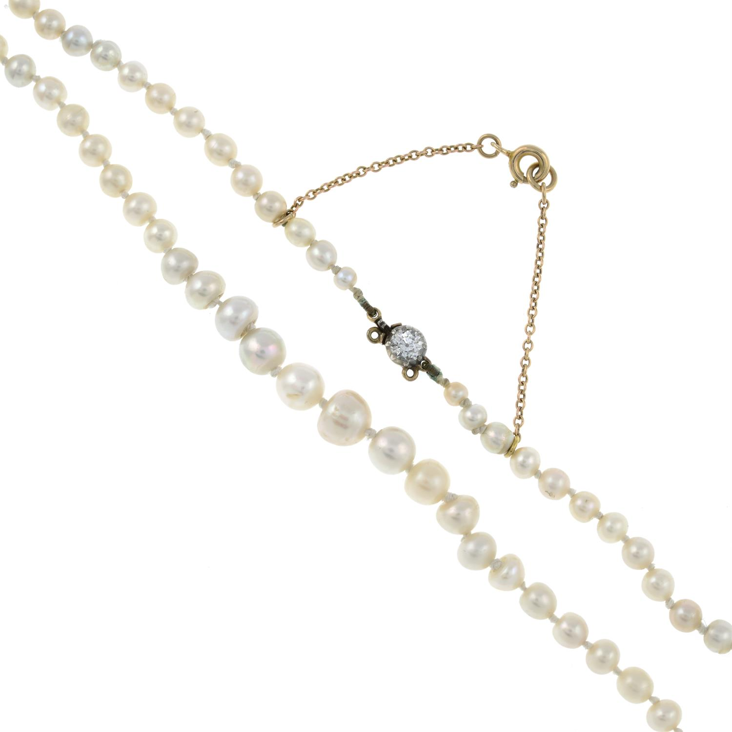 A graduated natural pearl single-strand necklace, with old-cut diamond clasp. - Image 2 of 6