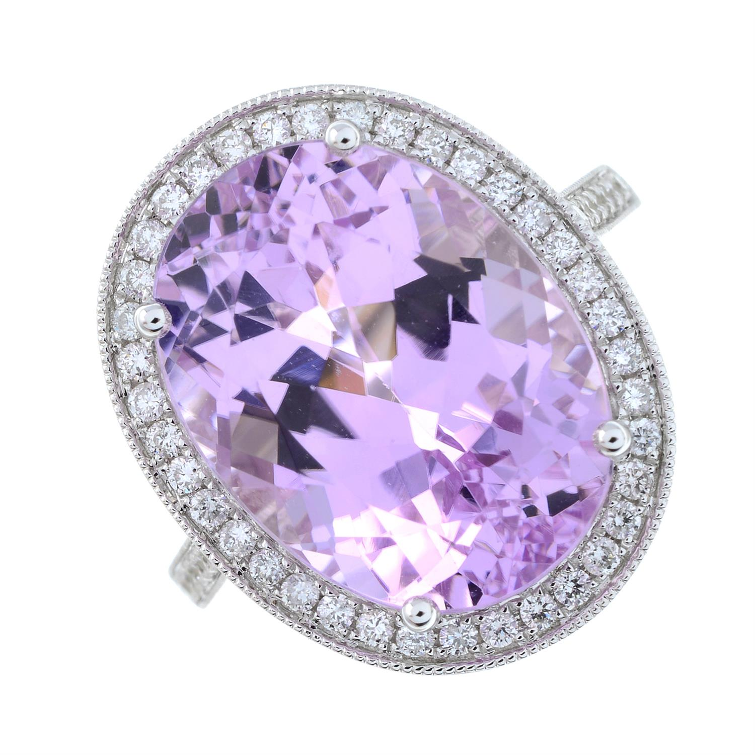 An 18ct gold kunzite and brilliant-cut diamond ring. - Image 2 of 6