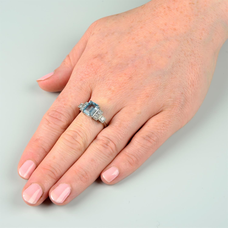 An aquamarine and brilliant-cut diamond dress ring. - Image 6 of 6