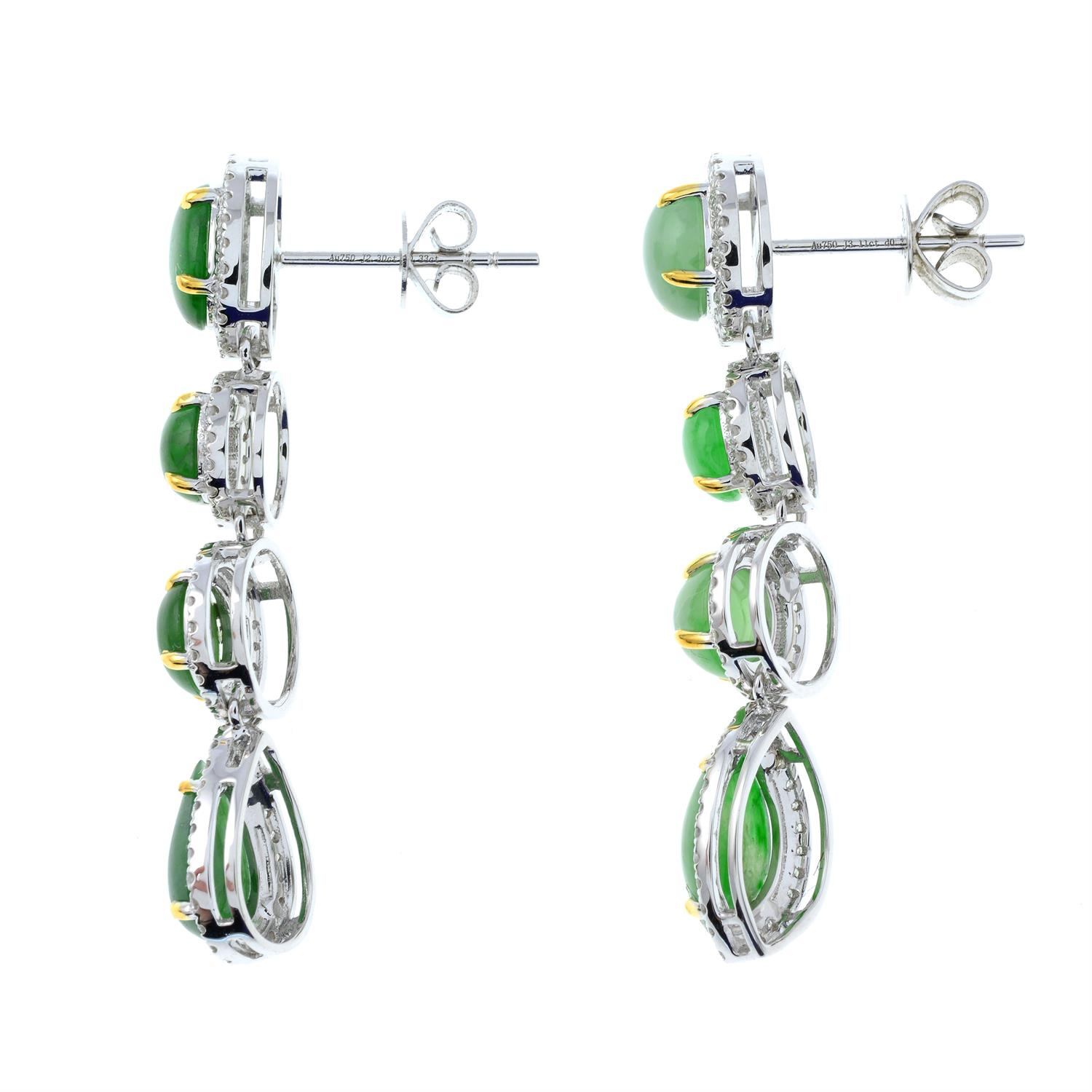 A pair of jade and diamond cluster drop earrings. - Image 4 of 4