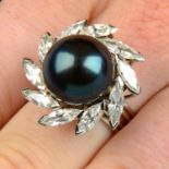 A 'black' cultured pearl and marquise-shape diamond cluster ring, by Grima.