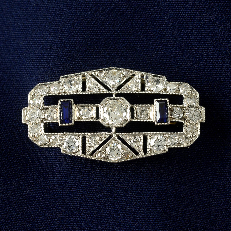 An Art Deco platinum and 18ct gold, circular-cut diamond and rectangular-shape sapphire geometric