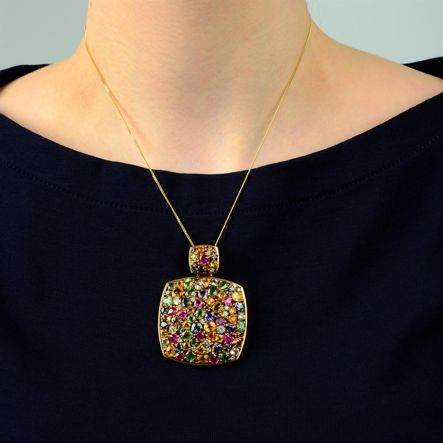 A 9ct gold multi gem pendant, to include vari-hue sapphire, diamond, spinel and further gems. - Image 4 of 4