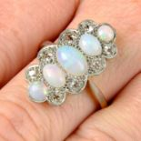 An early 20th century platinum and 18ct gold, opal and diamond ring.