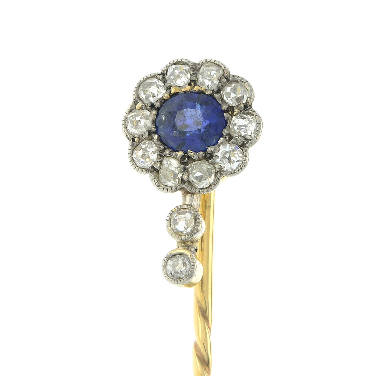 An early 20th century 12ct gold and platinum, sapphire and old-cut diamond cluster stickpin. - Image 2 of 5
