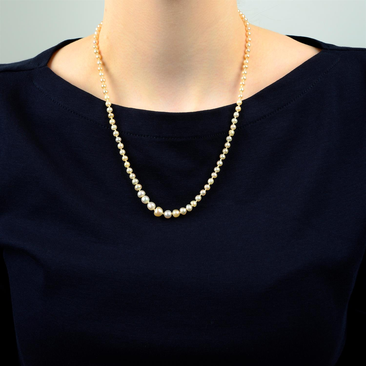 A graduated natural pearl single-strand necklace, with old-cut diamond clasp. - Image 6 of 6