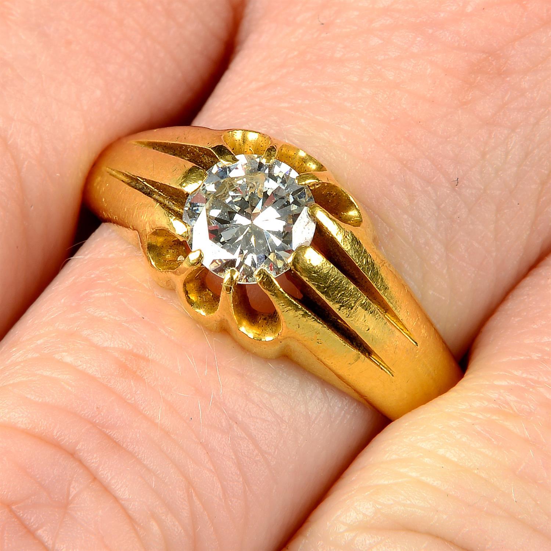 A gentleman's 22ct gold brilliant-cut diamond single-stone ring.