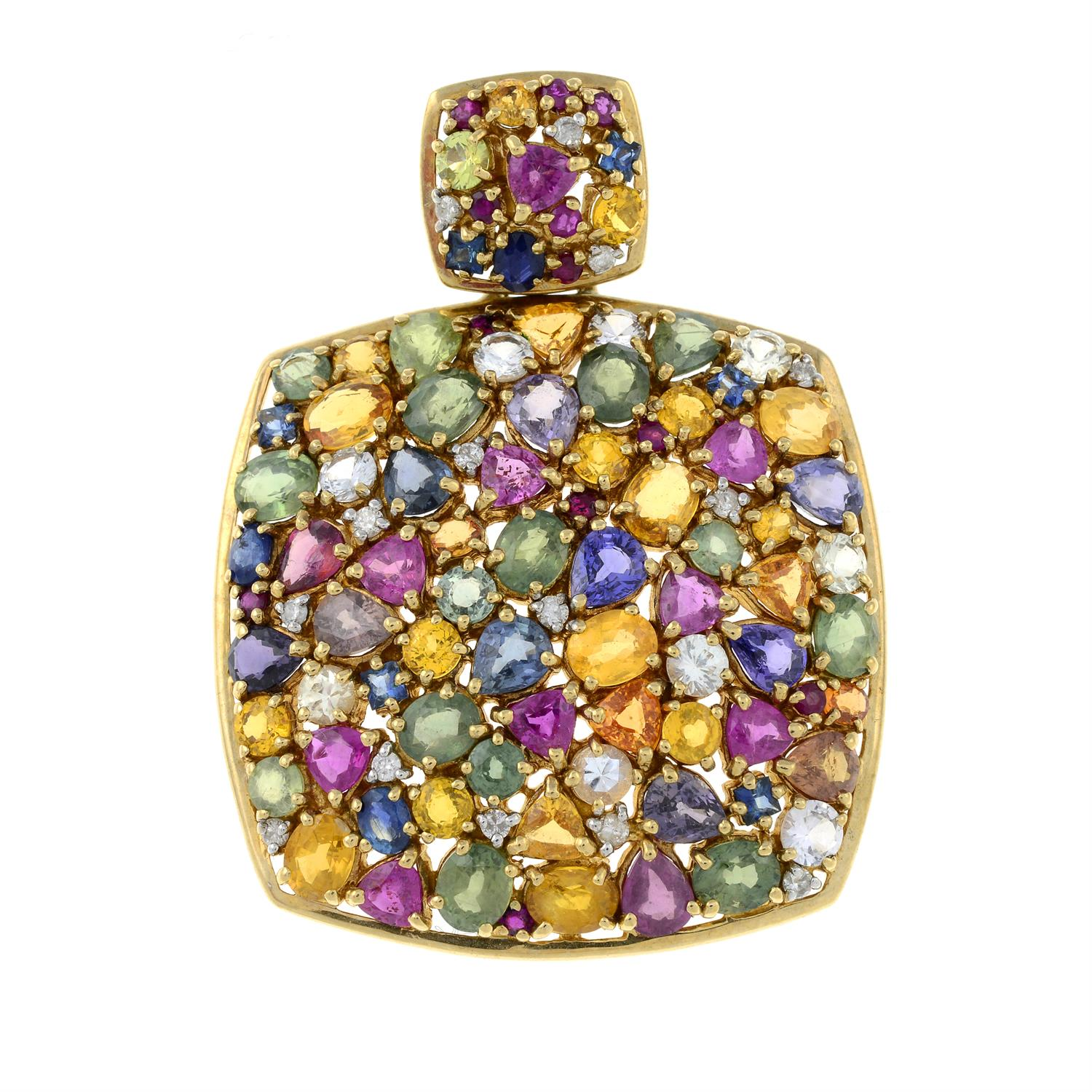 A 9ct gold multi gem pendant, to include vari-hue sapphire, diamond, spinel and further gems. - Image 2 of 4