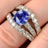 An 18ct gold no-heat sapphire and brilliant-cut diamond dress ring, by Ritz Fine Jewellery.