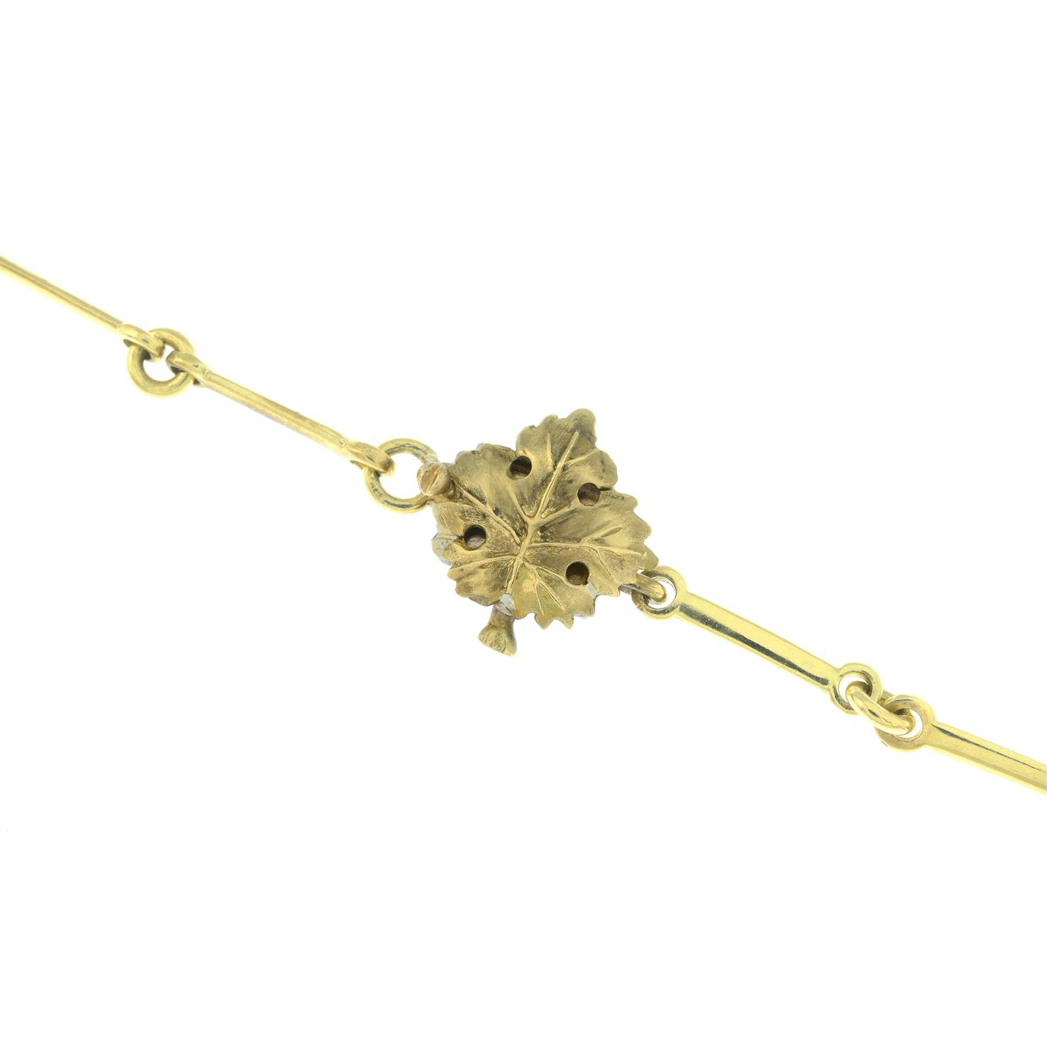 A diamond accent grape and vine leaf necklace, by M. Buccellati. - Image 5 of 6
