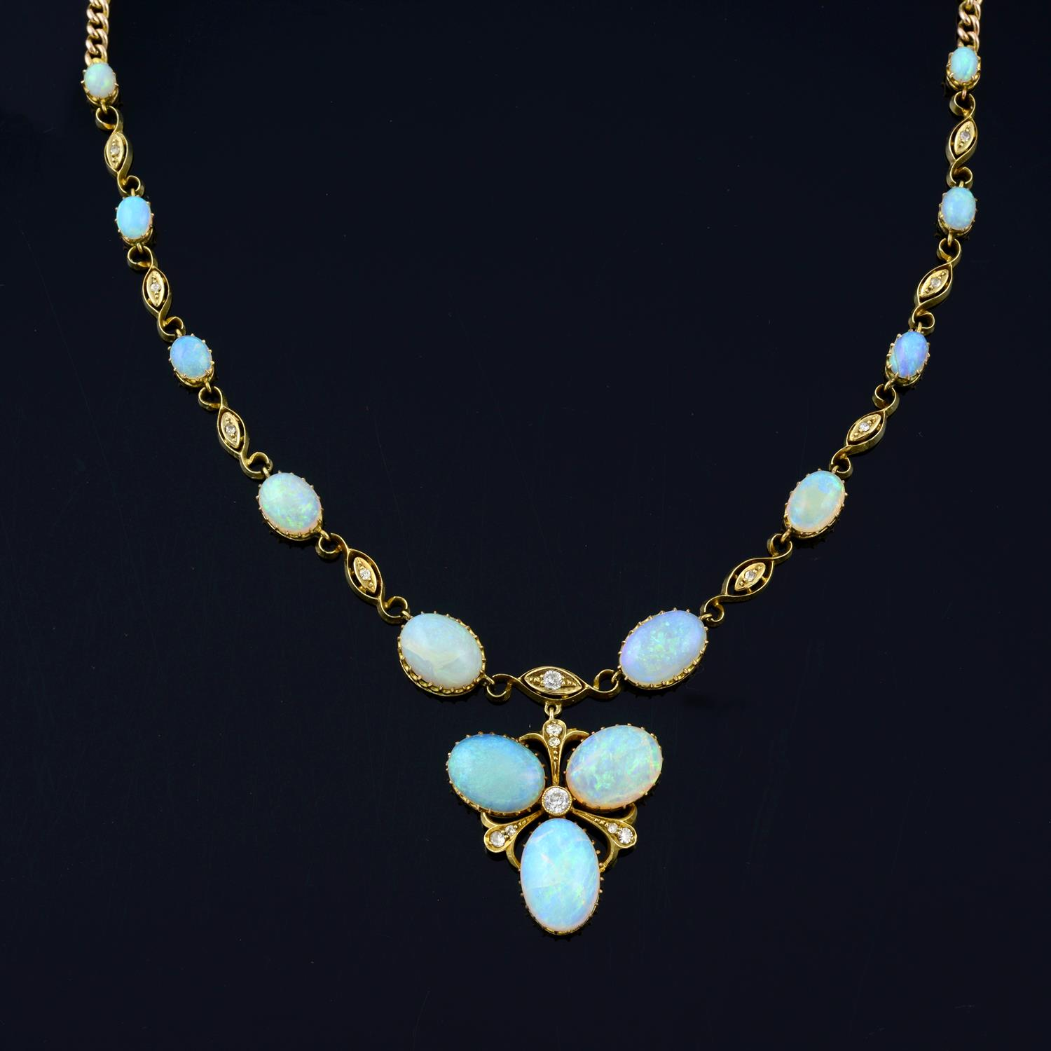 An early 20th century gold opal and diamond necklace, with later back chain. - Image 2 of 5