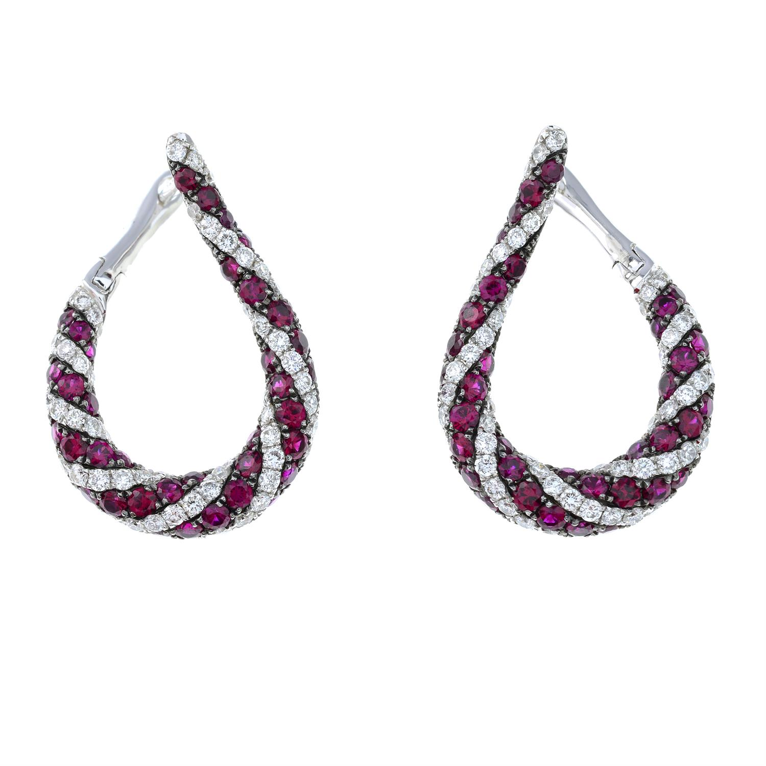 A pair of 18ct gold brilliant-cut diamond and ruby spiral hoop earrings. - Image 2 of 4