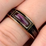 A late Georgian 9ct gold, Greek-key black enamel and foil back amethyst tapered mourning ring.