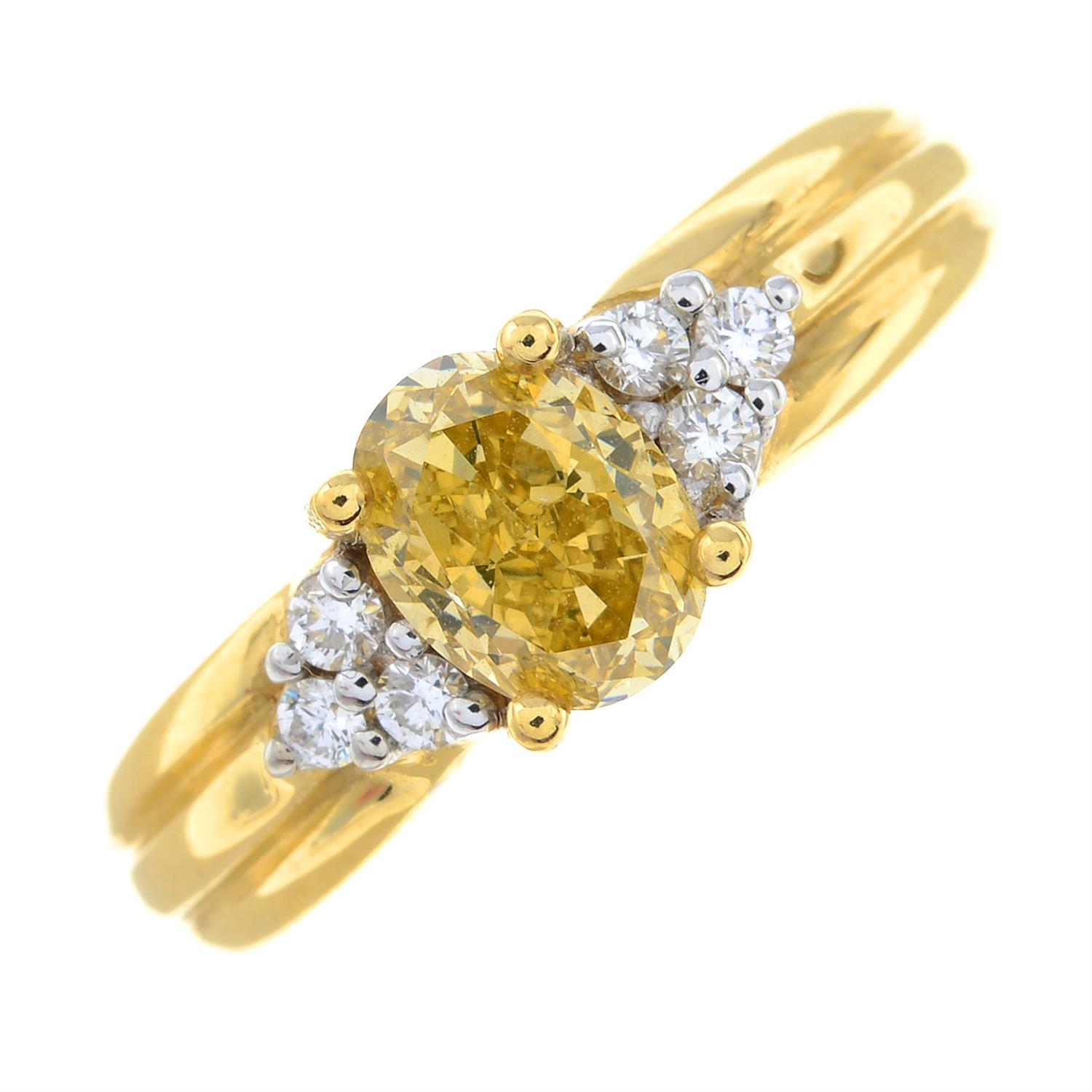 An 18ct gold oval-shape 'brownish-yellow' diamond ring, with brilliant-cut diamond trefoil sides. - Image 2 of 6