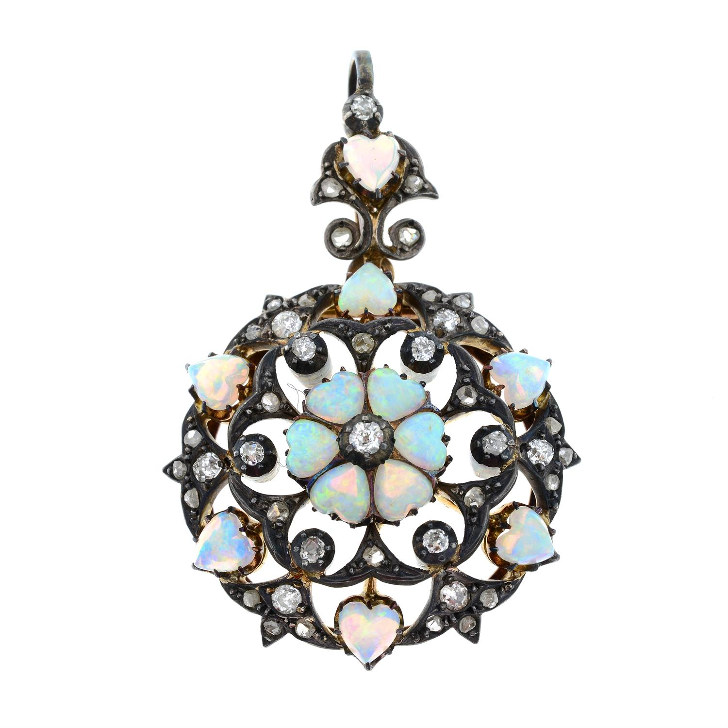 A silver and gold, late 19th century opal heart and diamond pendant/brooch. - Image 2 of 5
