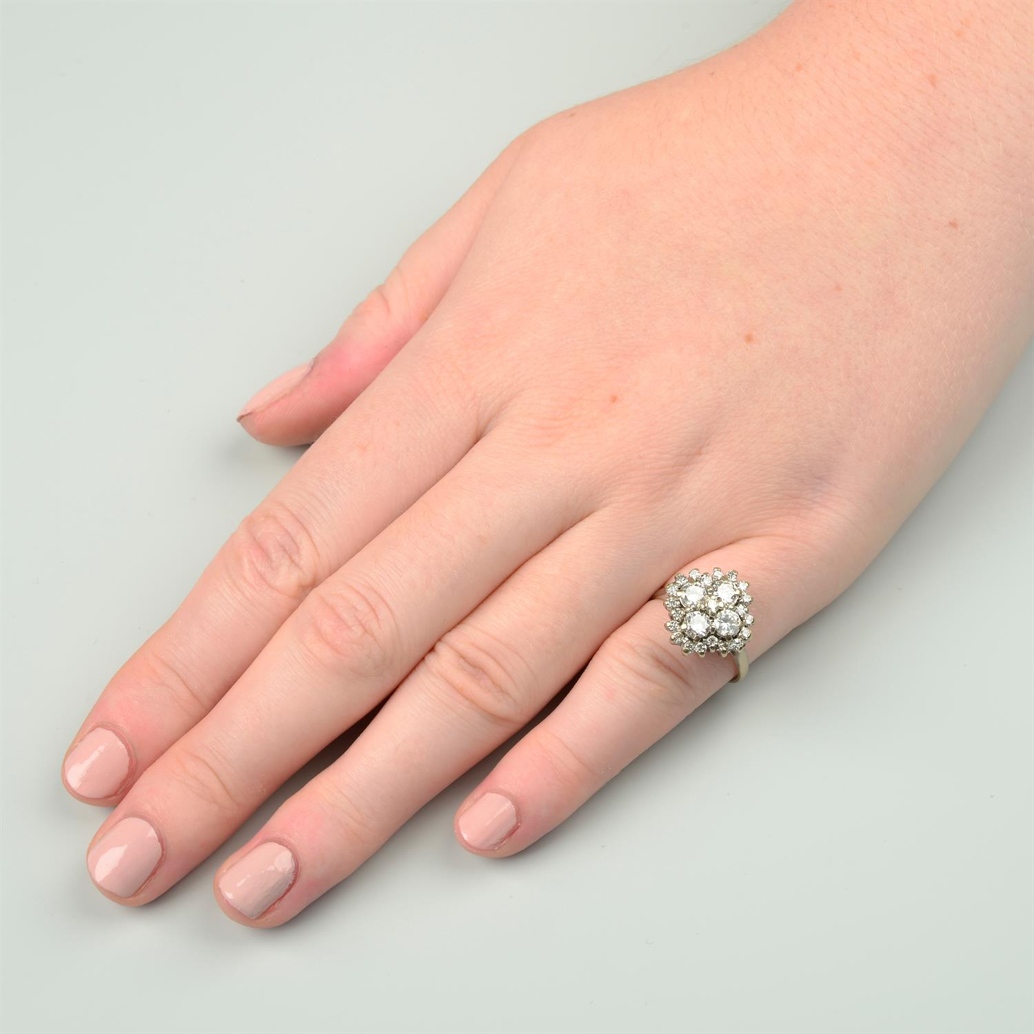 An 18ct gold brilliant-cut diamond cluster ring. - Image 6 of 6