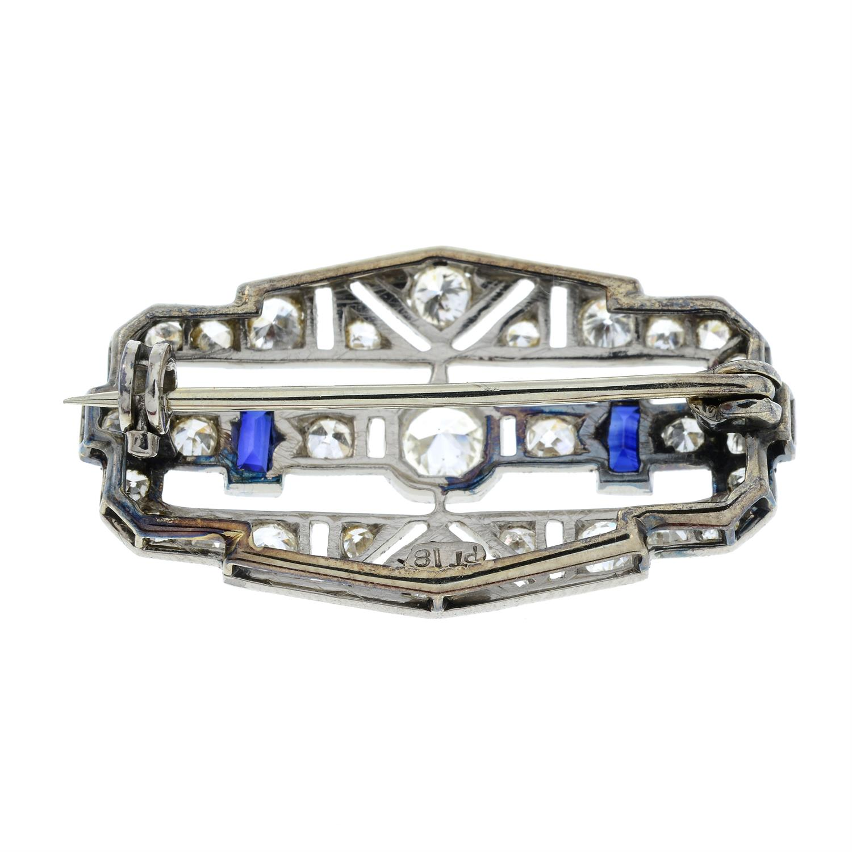 An Art Deco platinum and 18ct gold, circular-cut diamond and rectangular-shape sapphire geometric - Image 3 of 5