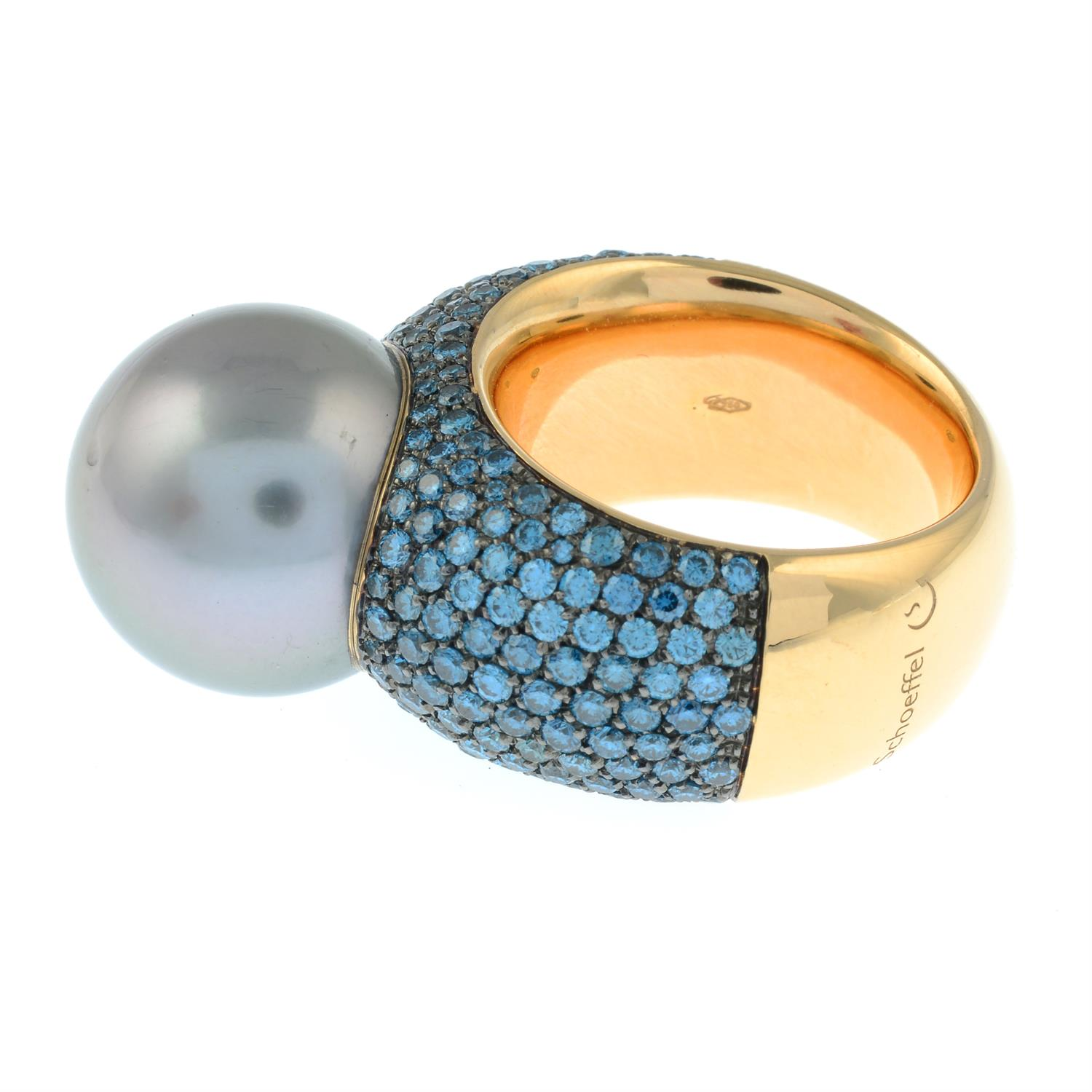 A colour-treated blue diamond and 'Tahitian' cultured pearl 'Classic Collection' ring, by Schoeffel. - Image 3 of 6