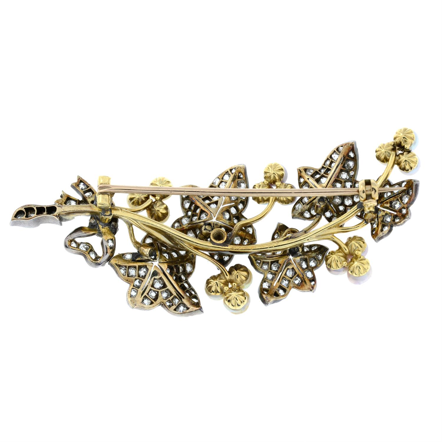 A late Victorian silver and gold, old-cut diamond and vari-hue pearl ivy sprig brooch. - Image 3 of 5
