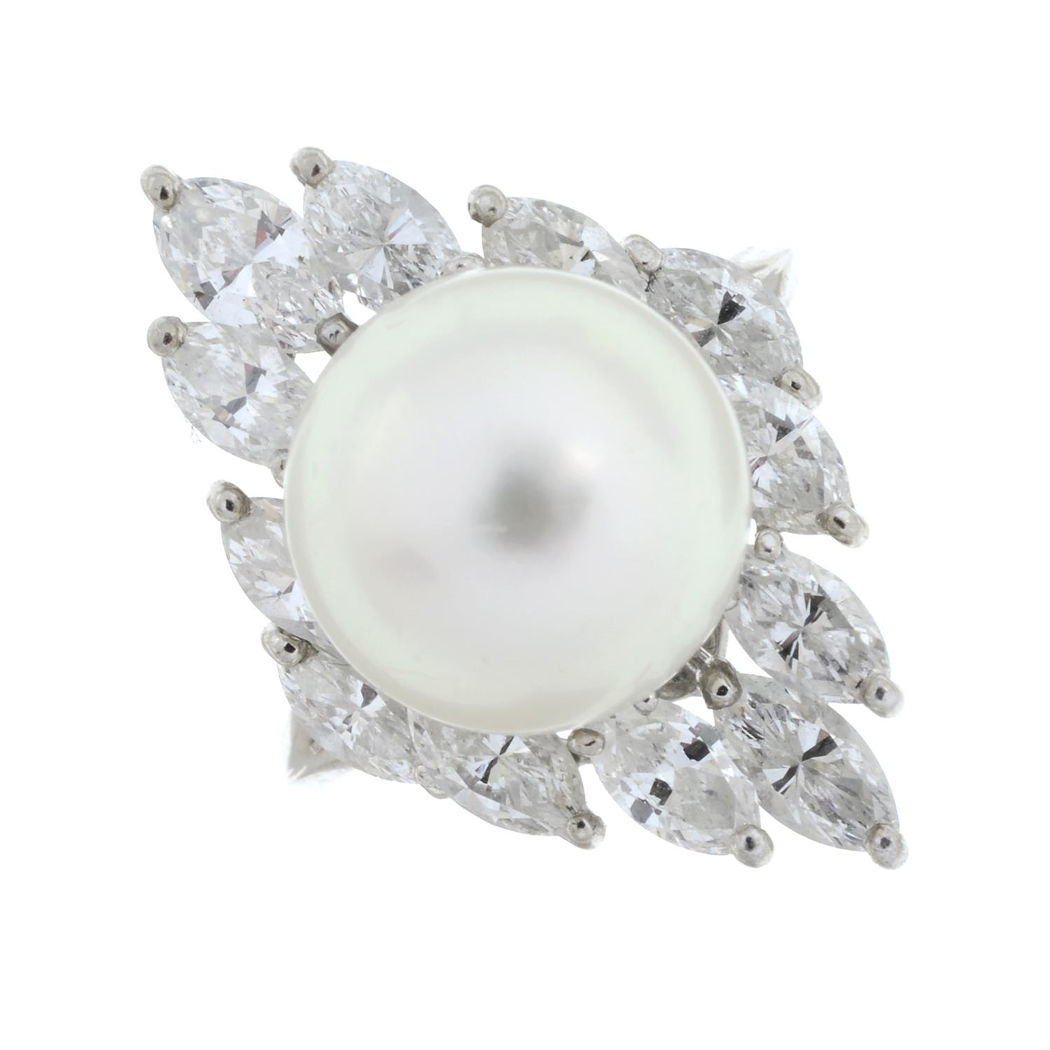 A cultured pearl and marquise-shape diamond cocktail ring. - Image 2 of 6