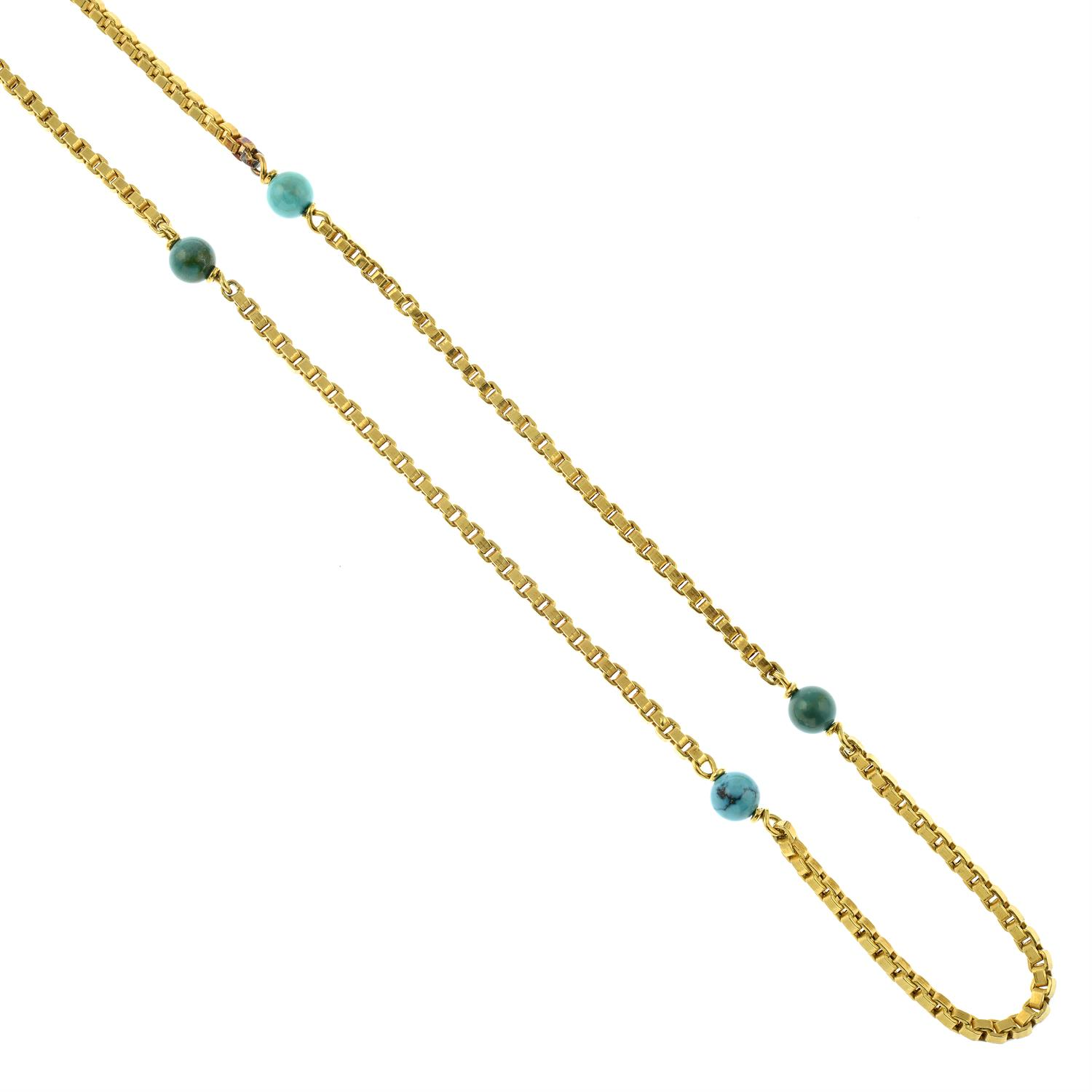 A mid 20th century Italian 18ct gold necklace, with turquoise matrix bead spacers, by Orf. - Image 2 of 5