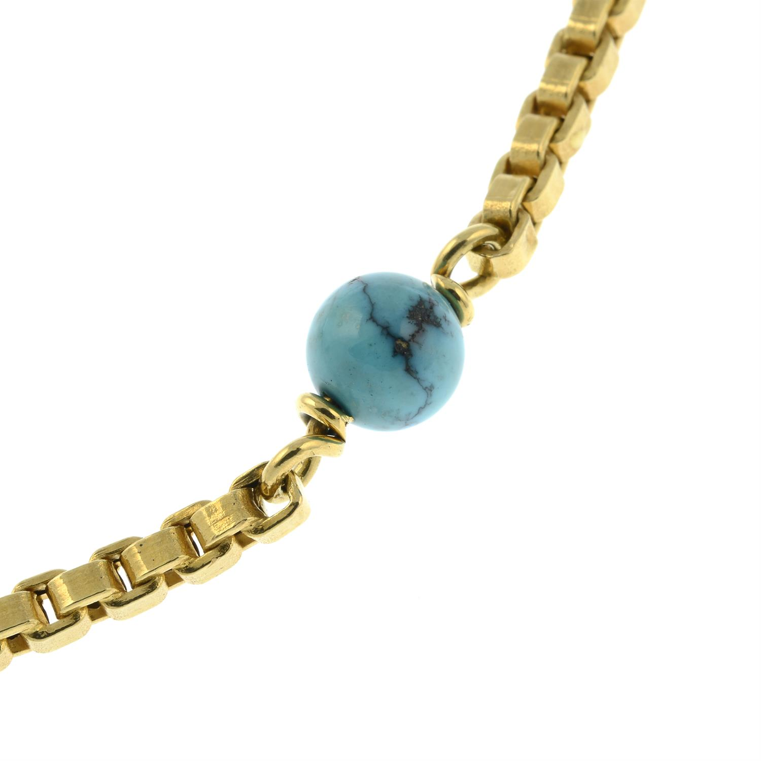 A mid 20th century Italian 18ct gold necklace, with turquoise matrix bead spacers, by Orf. - Image 4 of 5