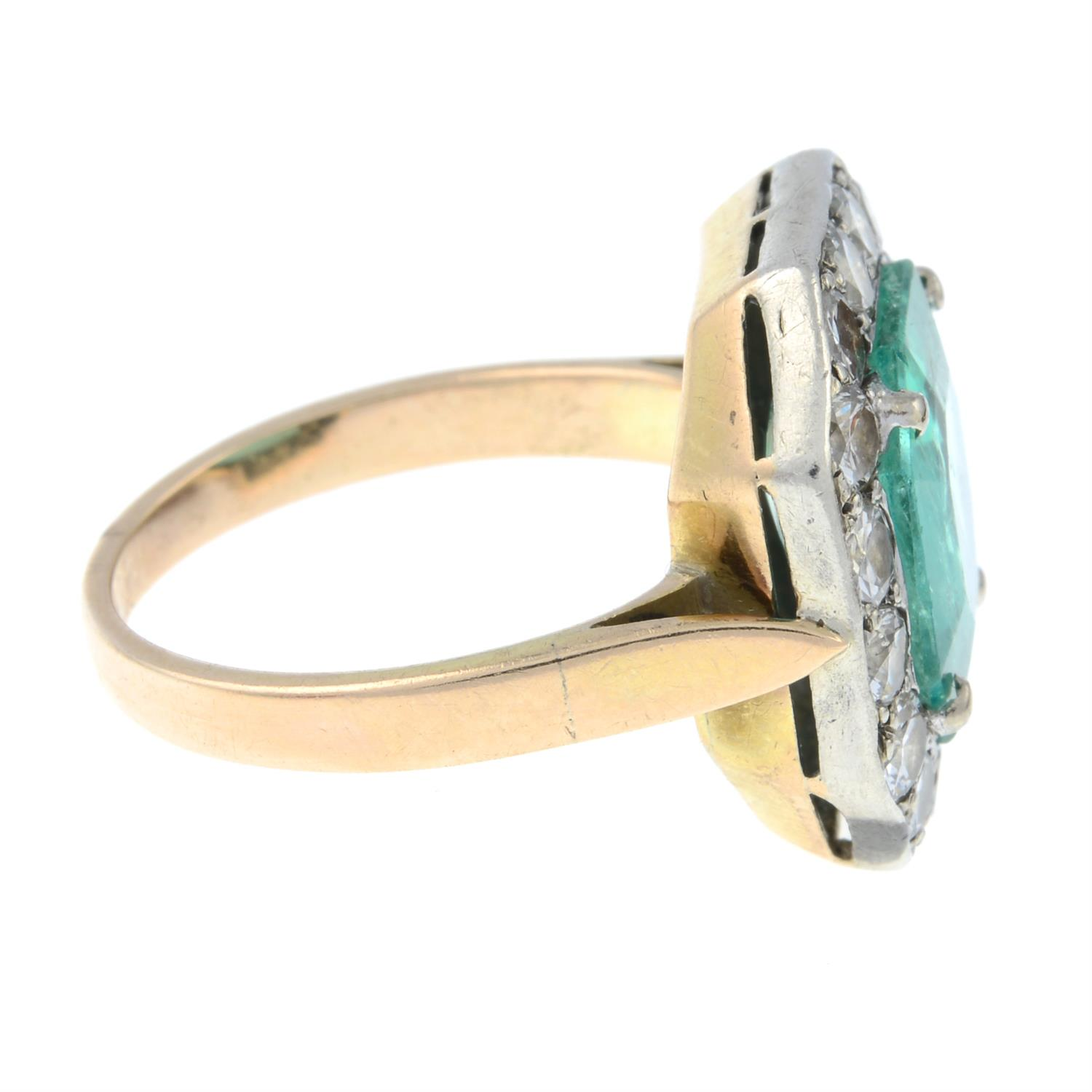 A mid 20th century silver and gold, emerald and brilliant-cut diamond ring. - Image 4 of 6