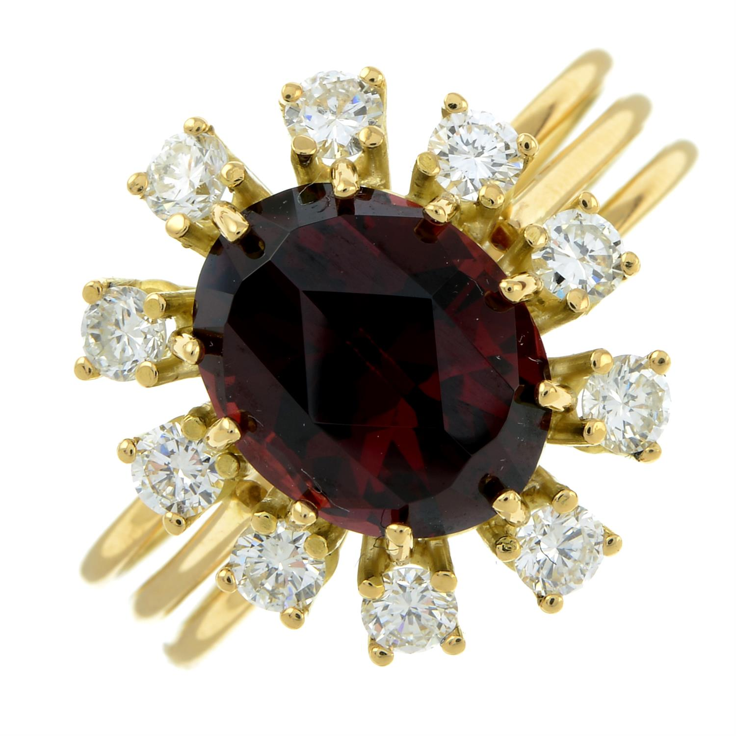 A garnet and brilliant-cut diamond cluster ring, attributed to Erwin Springbrunn. - Image 2 of 6