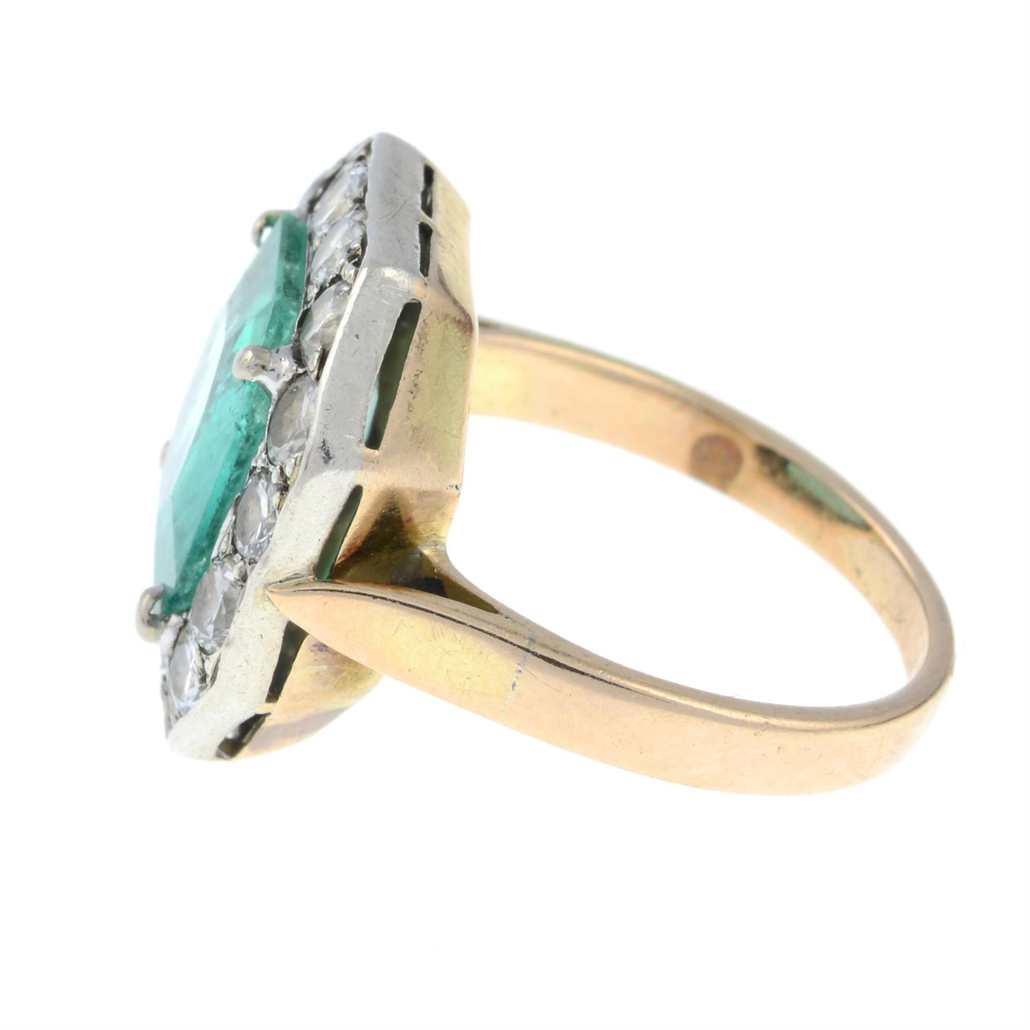 A mid 20th century silver and gold, emerald and brilliant-cut diamond ring. - Image 3 of 6