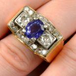 A 1940s palladium and gold sapphire and diamond dress ring.
