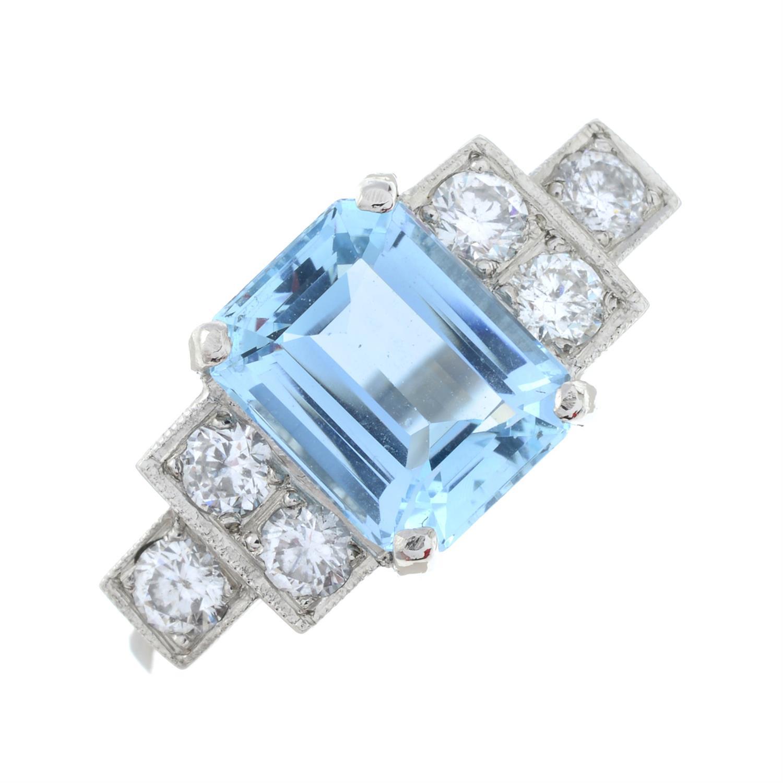 An aquamarine and brilliant-cut diamond dress ring. - Image 2 of 6