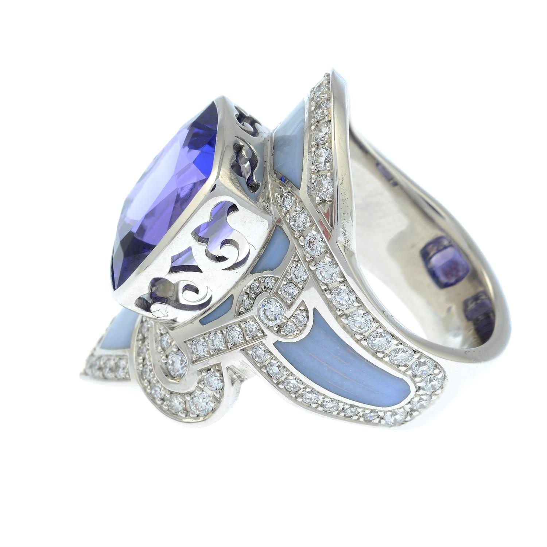 A tanzanite, brilliant-cut diamond and enamel ring. - Image 3 of 6