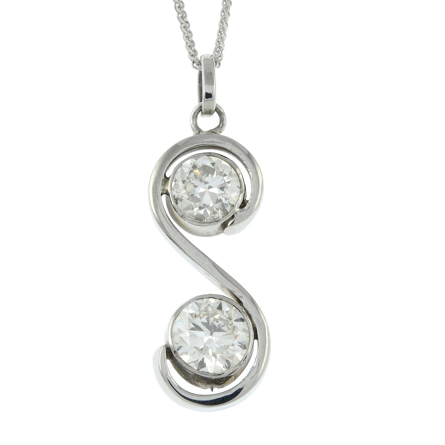 A brilliant-cut diamond two-stone pendant, with 18ct gold chain. - Image 2 of 5