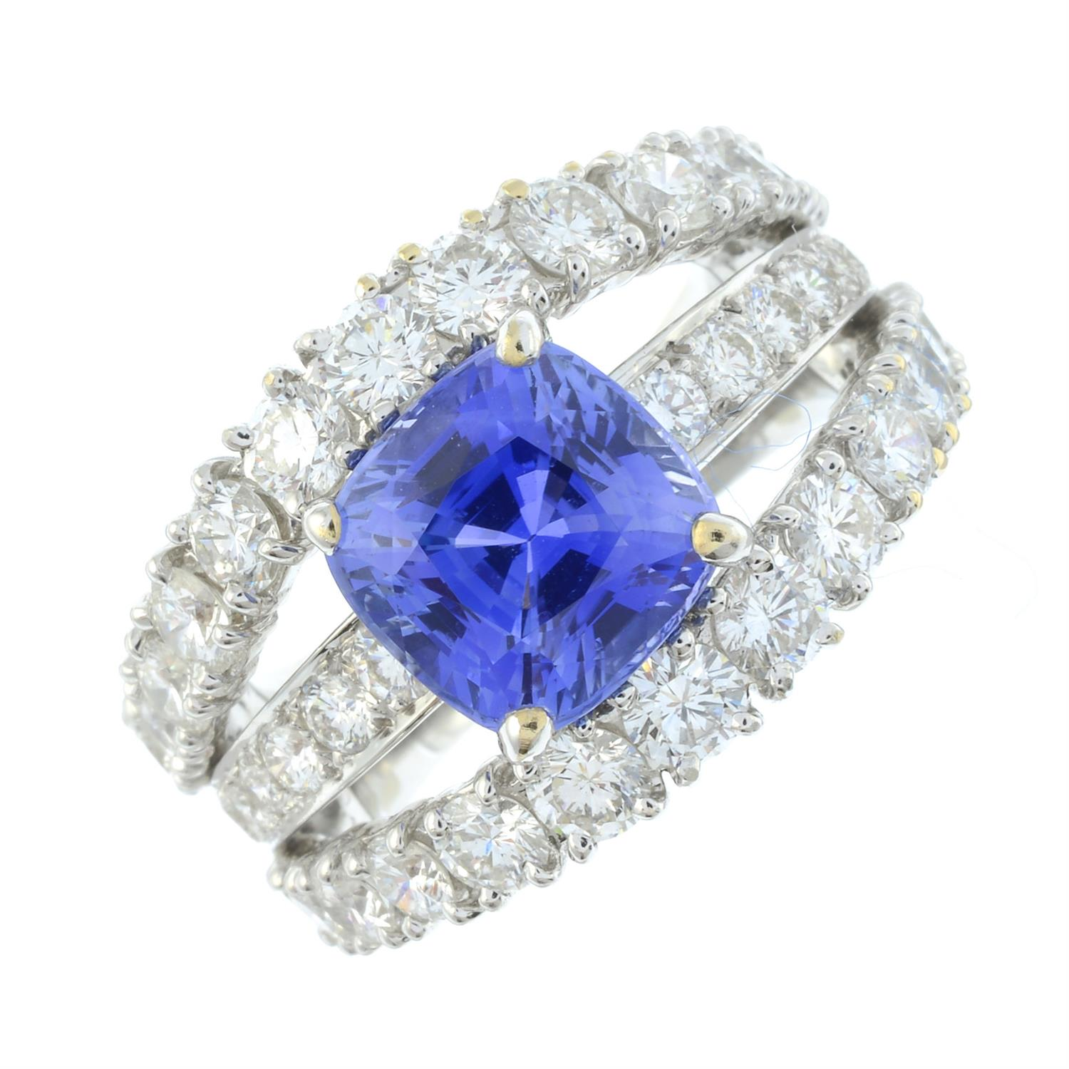 An 18ct gold no-heat sapphire and brilliant-cut diamond dress ring, by Ritz Fine Jewellery. - Image 2 of 8