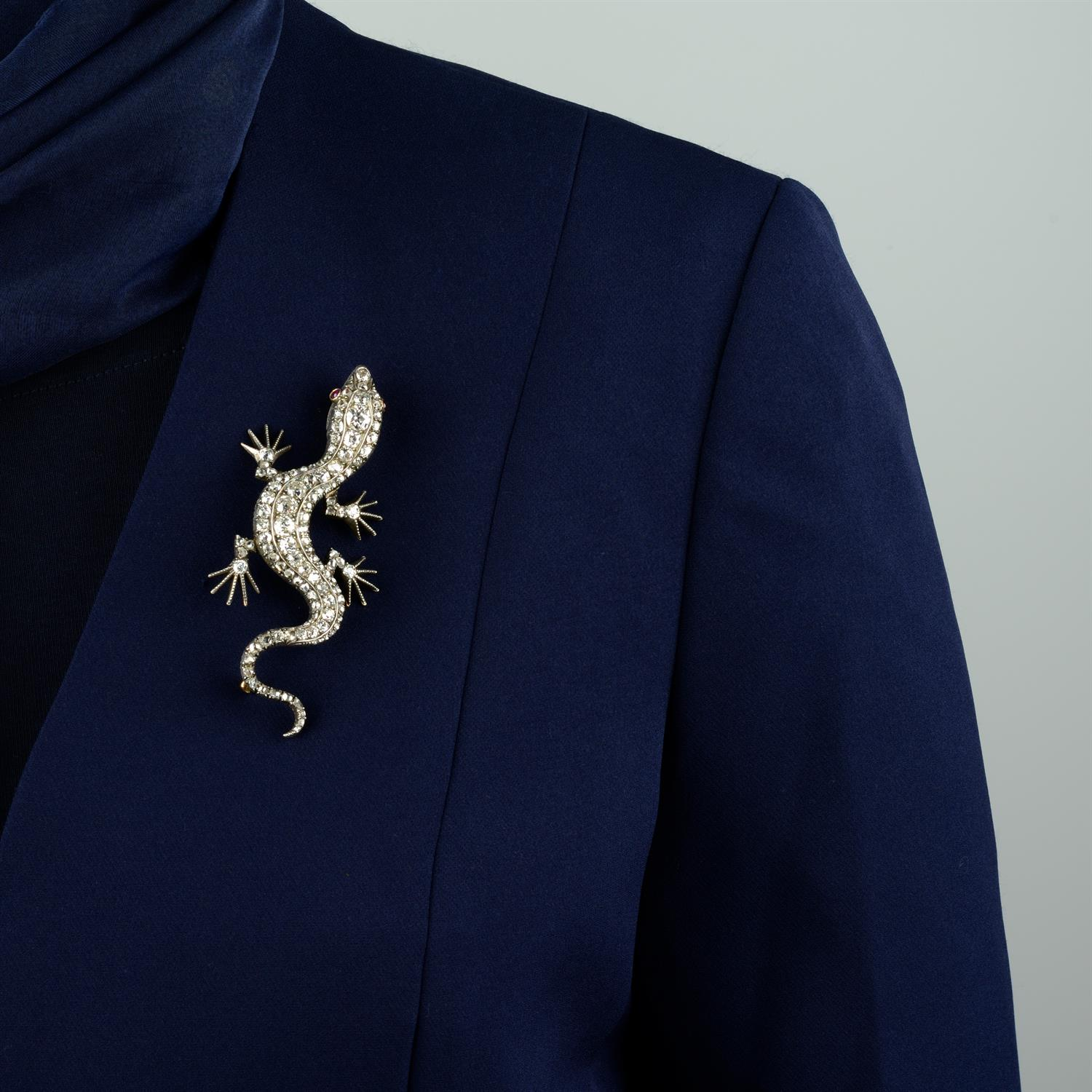 A Victorian silver and gold, old and rose-cut diamond salamander or lizard brooch. - Image 4 of 4