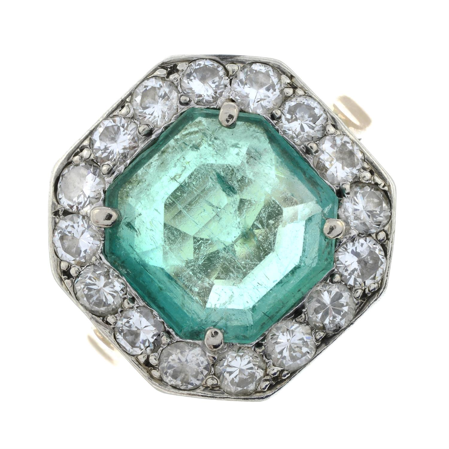 A mid 20th century silver and gold, emerald and brilliant-cut diamond ring. - Image 2 of 6