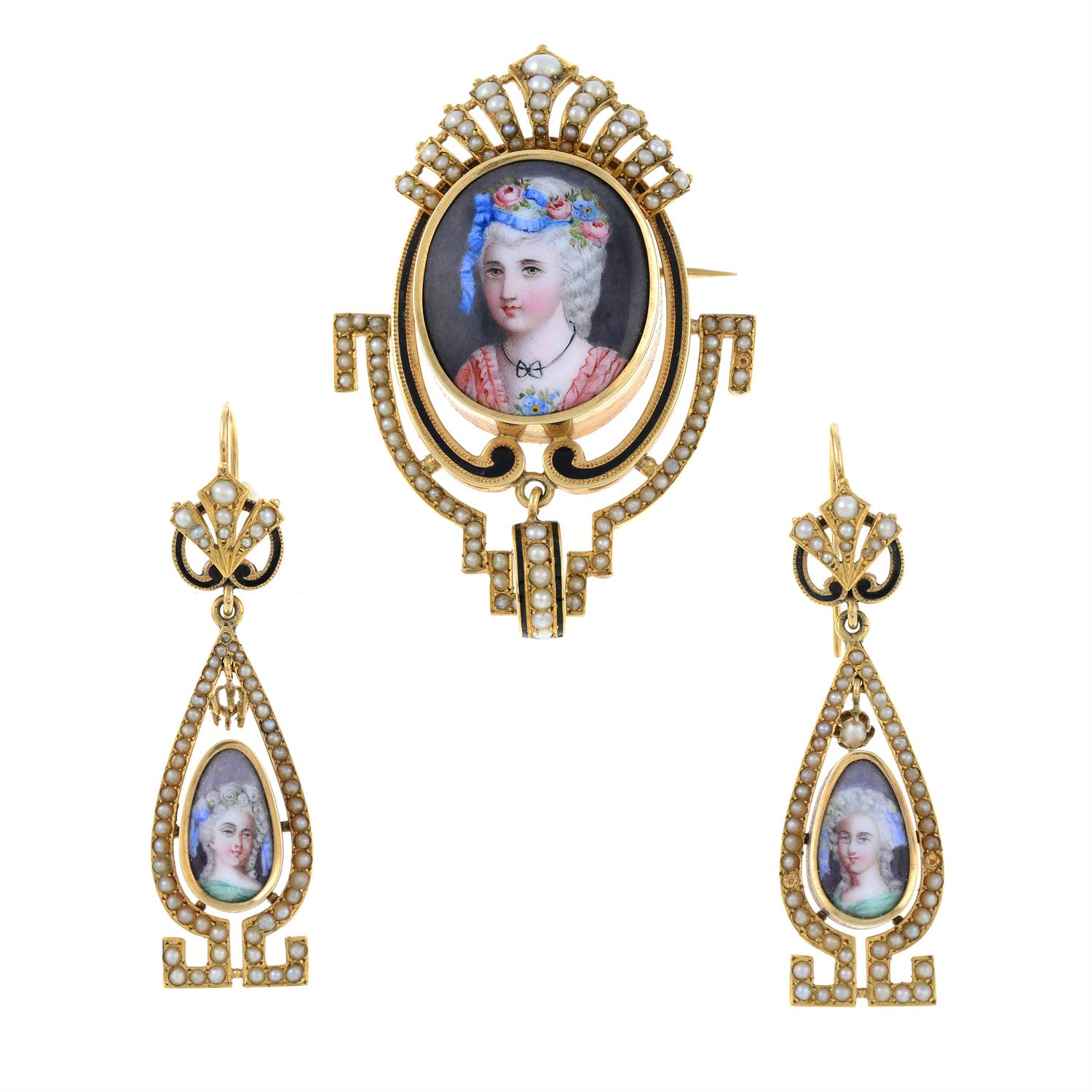 A late 19th century gold, enamel portrait and split pearl brooch, with matching earrings. - Image 2 of 6