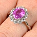 An 18ct gold pink sapphire and brilliant-cut diamond ring.