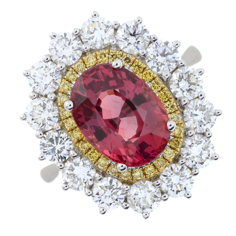 An 18ct gold orange sapphire, 'yellow' diamond and brilliant-cut diamond ring. - Image 2 of 5