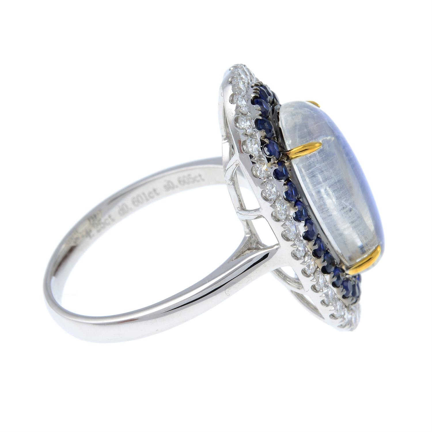 A moonstone, sapphire and diamond ring. - Image 4 of 6