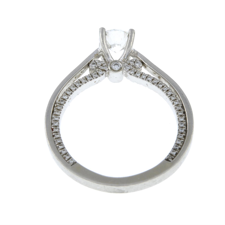 A platinum brilliant-cut diamond single-stone ring, with brilliant-cut diamond gallery. - Image 5 of 8
