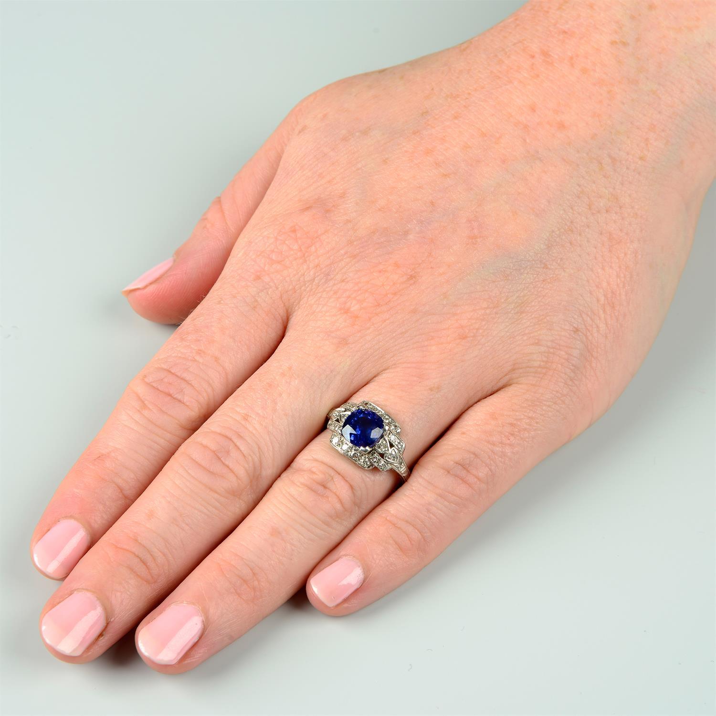A sapphire and single-cut diamond dress ring. - Image 6 of 6
