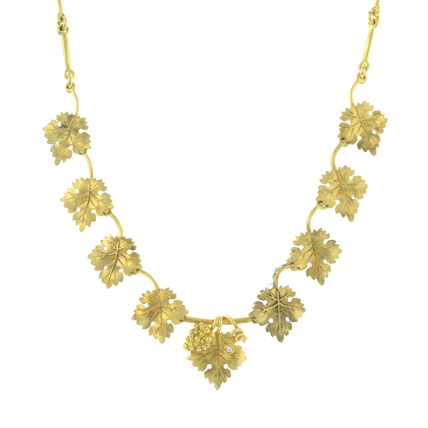 A diamond accent grape and vine leaf necklace, by M. Buccellati. - Image 2 of 6