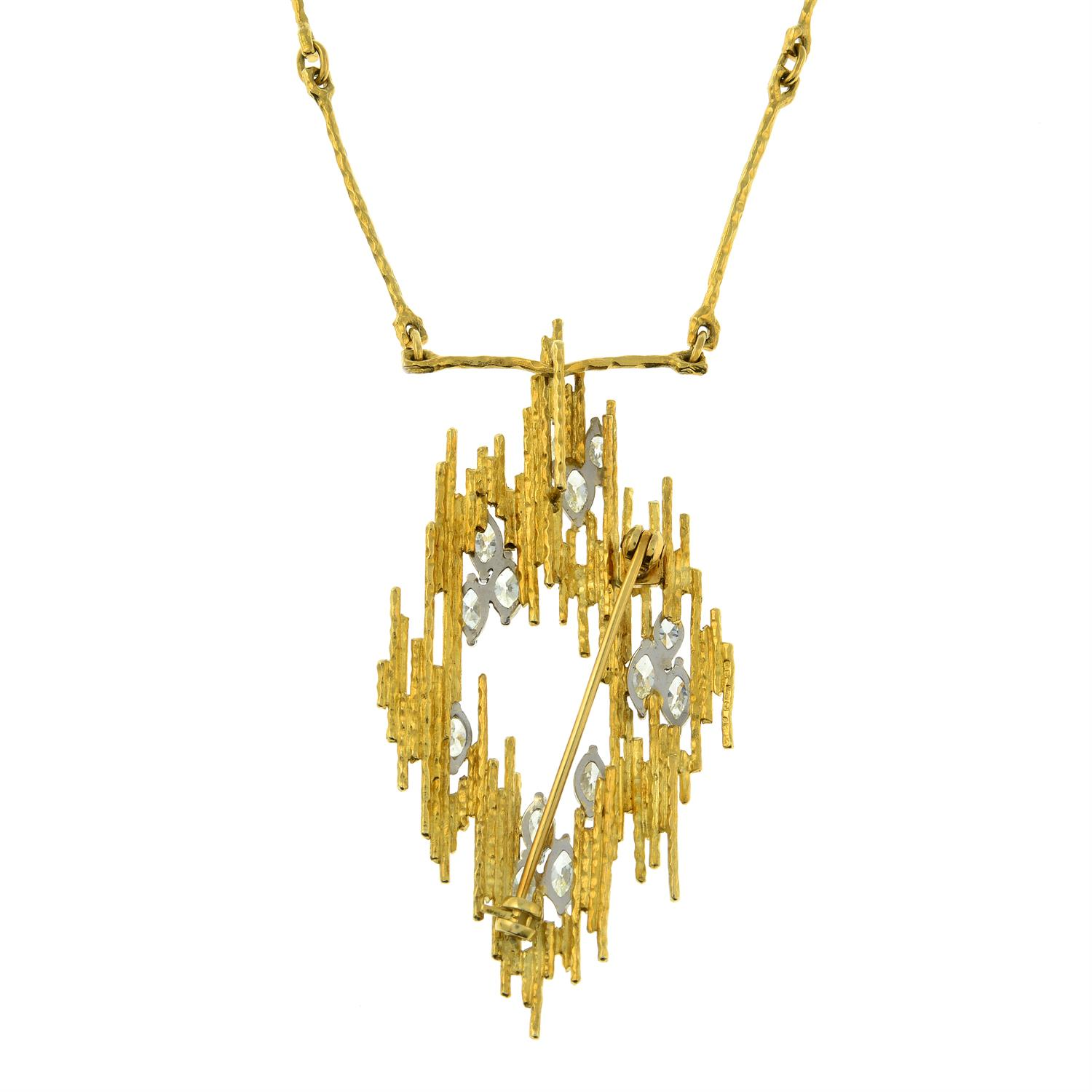 A 1970s 18ct gold marquise-shape diamond textured pendant brooch, with similarly-textured chain. - Image 3 of 5