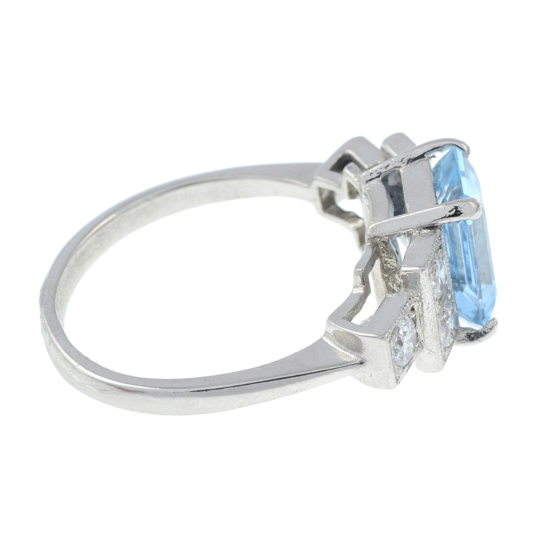 An aquamarine and brilliant-cut diamond dress ring. - Image 4 of 6