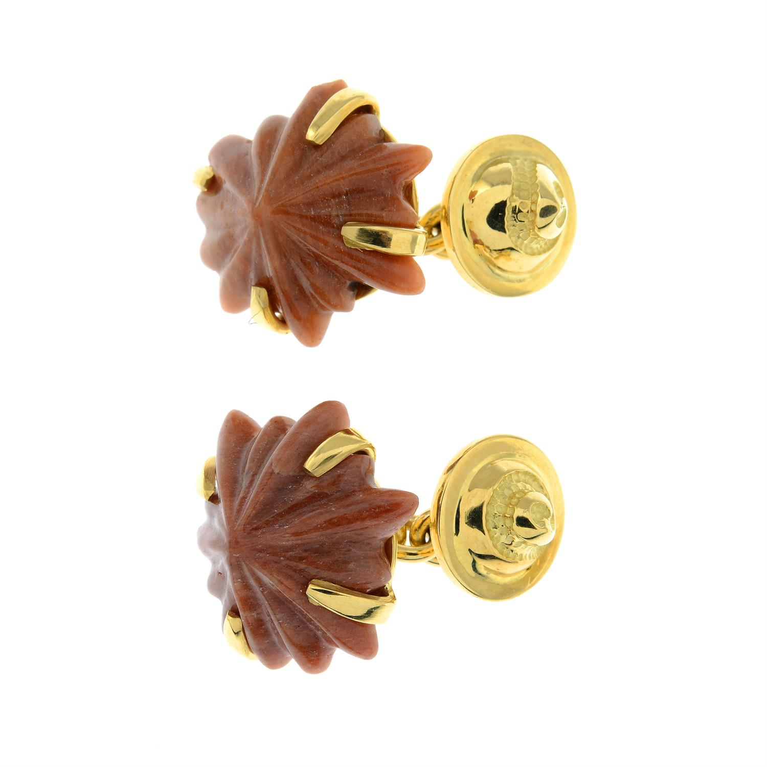 A pair of carved agate limpet shell cufflinks, with textured spiral shell reverse. - Image 2 of 3
