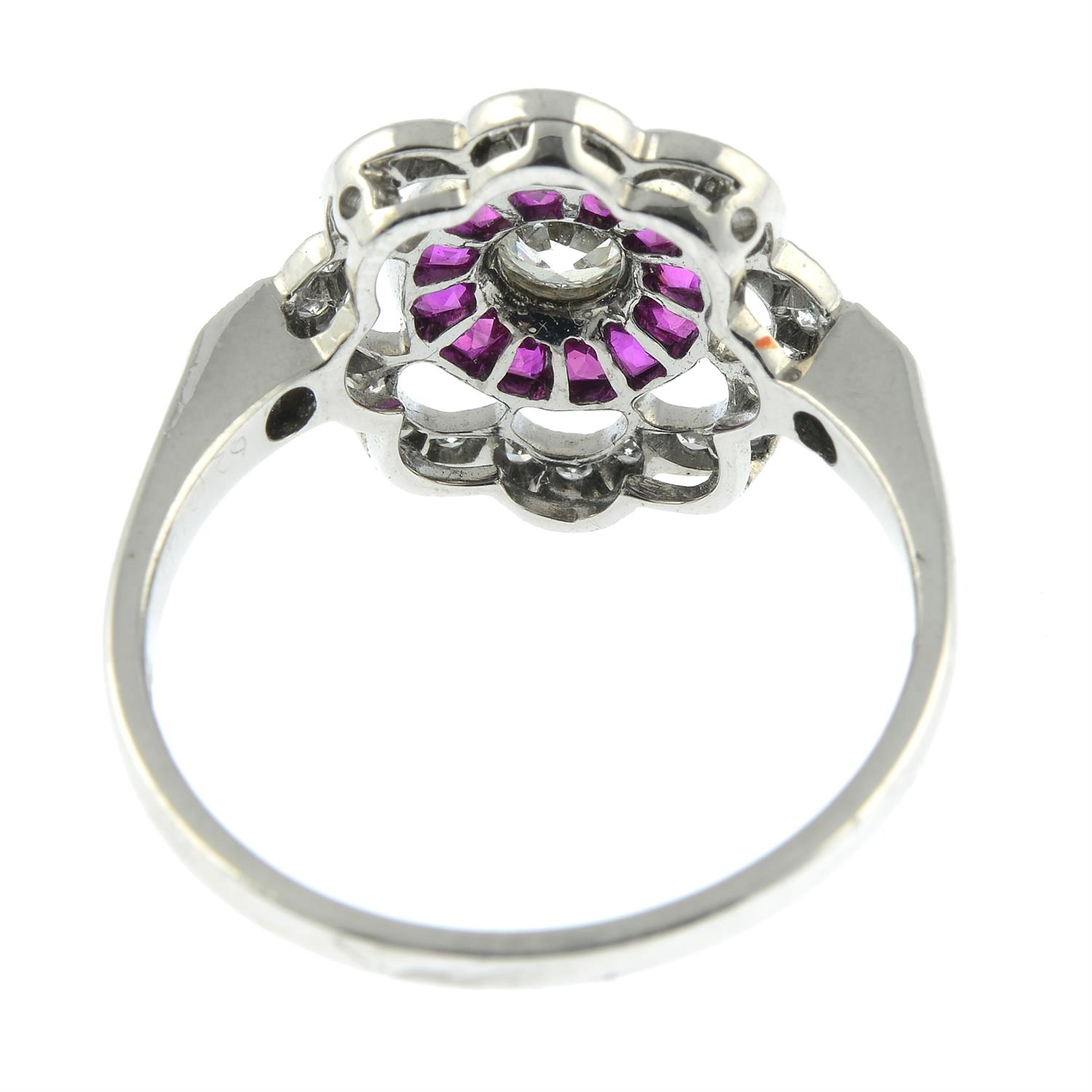 An 18ct gold diamond and French-cut ruby floral cluster ring. - Image 4 of 6